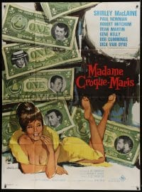 7y985 WHAT A WAY TO GO French 1p 1964 Tealdi art of sexy Shirley MacLaine, Newman, Mitchum & Martin
