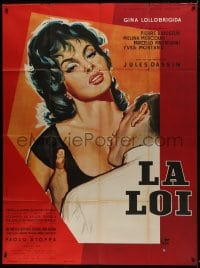 7y987 WHERE THE HOT WIND BLOWS style A French 1p 1959 Jules Dassin, Thos art of sexy Lollobrigida!