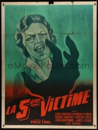 7y988 WHILE THE CITY SLEEPS French 1p R1950s art of killer attacking scared victim, Fritz Lang noir!