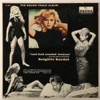 7y006 AND GOD CREATED WOMAN 33 1/3 RPM soundtrack record 1957 music from the Brigitte Bardot movie!