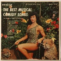 7y009 BEST MUSICAL COMEDY SONGS 33 1/3 RPM record 1957 sexy Bettie Page with cheetahs on the cover!