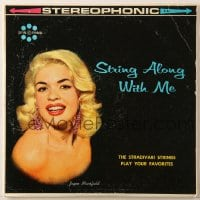 7y024 JAYNE MANSFIELD 33 1/3 RPM record 1950s String Along With Me, Stradivari strings!