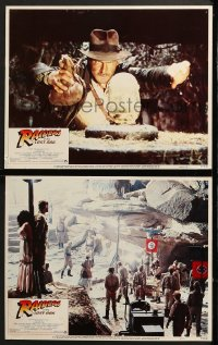 7z932 RAIDERS OF THE LOST ARK 2 LCs 1981 Allen, w/best scene of Harrison Ford about to steal idol!