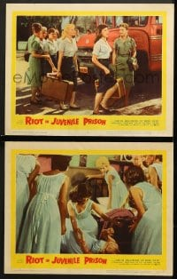 7z933 RIOT IN JUVENILE PRISON 2 LCs 1959 co-ed reform school for delinquents, great images!