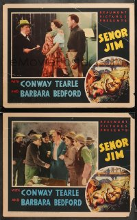 7z938 SENOR JIM 2 LCs 1936 Conway Tearle, Barbara Bedford, cool art of cowboys & bloodhounds!