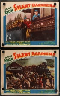 7z944 SILENT BARRIERS 2 LCs 1937 train railroad western with Richard Arlen & Lilli Palmer!