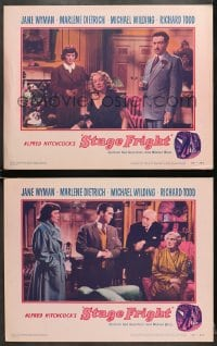 7z952 STAGE FRIGHT 2 LCs 1950 great images of Marlene Dietrich, Jane Wyman, Alfred Hitchcock!