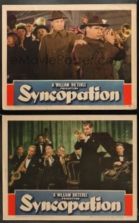 7z958 SYNCOPATION 2 LCs 1942 great images of Jackie Cooper playing trumpet, one with full band!