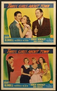 7z968 THREE GIRLS ABOUT TOWN 2 LCs 1941 Robert Benchley w/Joan Blondell, Binnie Barnes & Janet Blair