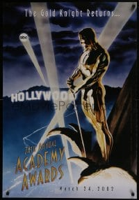 8a002 74TH ANNUAL ACADEMY AWARDS heavy stock 1sh 2002 cool Alex Ross art of Oscar over Hollywood!