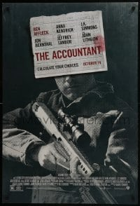 8a024 ACCOUNTANT advance DS 1sh 2016 Jon Bernthal, Lithgow, Ben Affleck with high-power rifle!