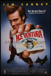 8a025 ACE VENTURA PET DETECTIVE 1sh 1994 Jim Carrey tries to find Miami Dolphins mascot!