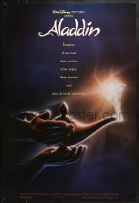 8a033 ALADDIN DS 1sh 1992 classic Disney Arabian fantasy cartoon, John Alvin art of magic lamp!