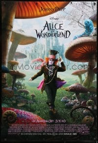 8a036 ALICE IN WONDERLAND advance DS 1sh 2010 Johnny Depp as the Mad Hatter surrounded by mushrooms