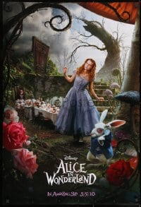 8a038 ALICE IN WONDERLAND teaser DS 1sh 2010 Tim Burton, Mia Wasikowska in title role as Alice!