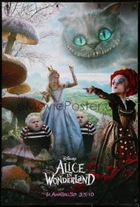 8a037 ALICE IN WONDERLAND teaser DS 1sh 2010 cast with Helena Bonham Carter as the Red Queen!