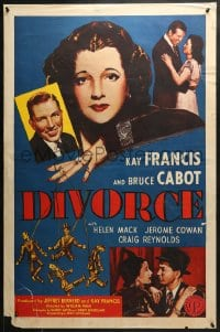 8a256 DIVORCE 1sh R1950 Kay Francis with puppet grooms, Bruce Cabot, Helen Mack!
