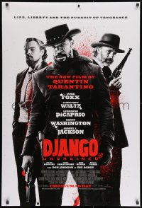 8a258 DJANGO UNCHAINED advance DS 1sh 2012 cast image of Jamie Foxx, Christoph Waltz, and DiCaprio!