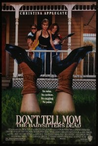 8a263 DON'T TELL MOM THE BABYSITTER'S DEAD 1sh 1991 sexy Christina Applegate, wacky image