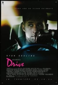 8a269 DRIVE advance 1sh 2011 cool image of Ryan Gosling in car, directed by Nicolas Winding Refn!