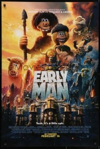 8a274 EARLY MAN DS advance 1sh 2018 Wallace & Gromit, Tom Hiddleston, Maisie Williams, wacky montage