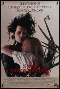 8a276 EDWARD SCISSORHANDS int'l Spanish language DS 1sh 1990 Johnny Depp, Winona Ryder, different!