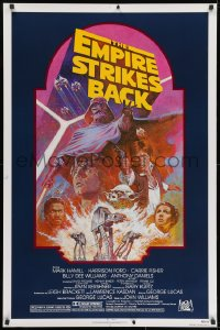 8a281 EMPIRE STRIKES BACK NSS style 1sh R1982 George Lucas sci-fi classic, cool artwork by Tom Jung!
