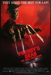 8a328 FREDDY'S DEAD 1sh 1991 great art of Robert Englund as Freddy Krueger!