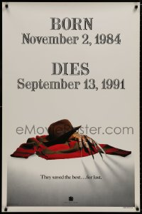 8a329 FREDDY'S DEAD style A teaser 1sh 1991 cool image of Krueger's sweater, hat, and claws!