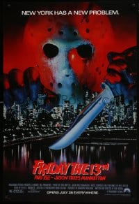 8a335 FRIDAY THE 13th PART VIII advance 1sh 1989 Jason Takes Manhattan, NYC has a new problem!