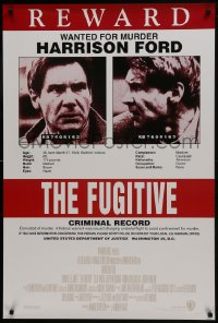 8a337 FUGITIVE recalled int'l 1sh 1993 Harrison Ford is on the run, cool wanted poster design!
