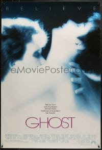 8a340 GHOST 1sh 1990 classic romantic close up of spirit Patrick Swayze & sexy Demi Moore!