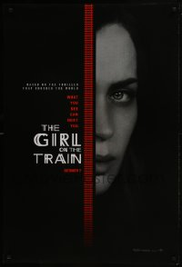 8a344 GIRL ON THE TRAIN teaser DS 1sh 2016 close-up of Emily Blunt, what you see can hurt you!