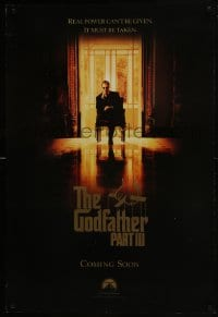 8a352 GODFATHER PART III teaser 1sh 1990 best image of Al Pacino, directed by Francis Ford Coppola!