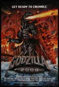 8a356 GODZILLA 2000 DS 1sh 2000 Gojira ni-sen miraniamu, cool artwork of monster attack!