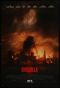 8a354 GODZILLA advance DS 1sh 2014 Bryan Cranston, image of monster over burning San Francisco!