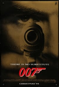 8a358 GOLDENEYE advance DS 1sh 1995 Pierce Brosnan as James Bond 007, cool gun & eye close up!