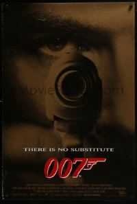 8a357 GOLDENEYE 1sh 1995 image of Pierce Brosnan as secret agent James Bond 007, gun close up!
