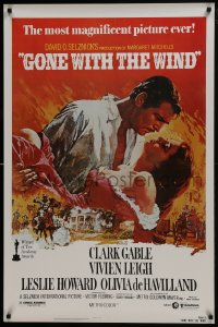 8a360 GONE WITH THE WIND 1sh R1980 Clark Gable, Vivien Leigh, Terpning artwork, all-time classic!