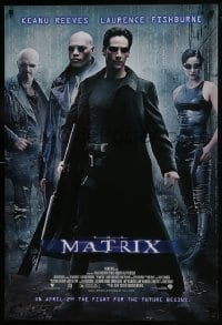 8a553 MATRIX advance DS 1sh 1999 Keanu Reeves, Carrie-Anne Moss, Laurence Fishburne, Wachowskis!
