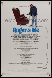 8a741 ROGER & ME 1sh 1989 1st Michael Moore documentary, about General Motors CEO Roger Smith!