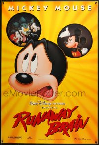 8a748 RUNAWAY BRAIN DS 1sh 1995 Disney, great huge Mickey Mouse Jekyll & Hyde cartoon image!