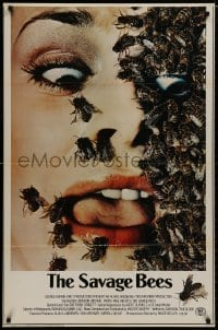 8a751 SAVAGE BEES 1sh 1976 terrifying horror image of bees crawling on girl's face!