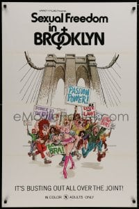 8a761 SEXUAL FREEDOM IN BROOKLYN 1sh 1971 great artwork, it's busting out all over the joint!