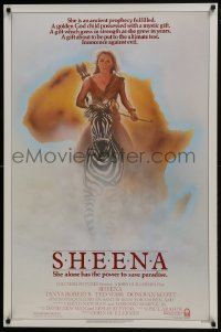 8a769 SHEENA 1sh 1984 sexy Tanya Roberts with bow & arrows riding zebra in Africa!