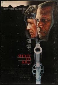 8a774 SHOOT TO KILL 1sh 1988 cool image of Sidney Poitier & Tom Berenger over smoking gun barrel!