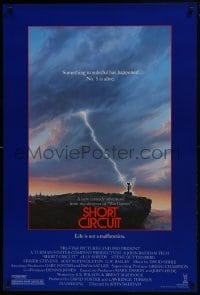 8a775 SHORT CIRCUIT 1sh 1986 cool artwork of Johnny Five being struck by lightning by John Alvin!