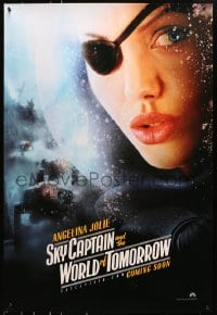 8a790 SKY CAPTAIN & THE WORLD OF TOMORROW teaser DS 1sh 2004 close-up of Angelina Jolie w/eyepatch!