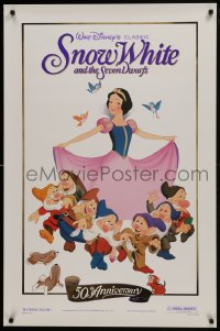 8a800 SNOW WHITE & THE SEVEN DWARFS foil 1sh R1987 Walt Disney cartoon fantasy classic!
