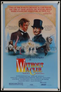 8a977 WITHOUT A CLUE 1sh 1988 great artwork of Michael Caine & Ben Kingsley on the case!